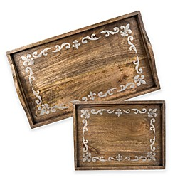 Gerson Fleur de Lis Screen Print Wood Caddy in Mango