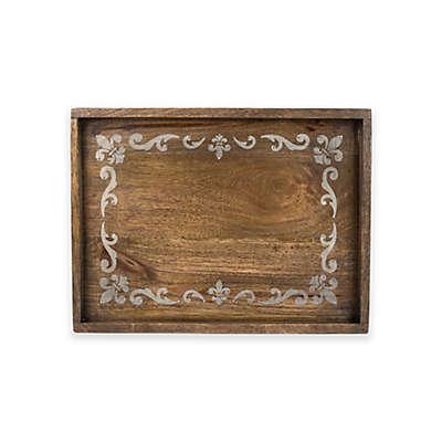Gerson Fleur de Lis Screen Print Wood Tray in Mango