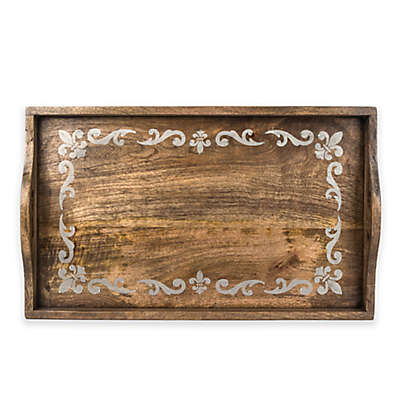 Gerson Fleur de Lis Screen Print Large Wood Tray in Mango