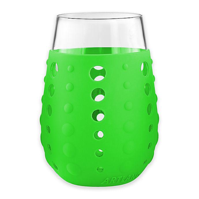 Alternate image 1 for Artland® Hydra Sip Stemless Wine Glasses in Green (Set of 2)