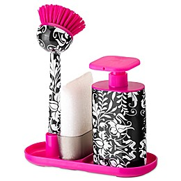 Sink Side Set Soap Dispenser with Scrubby in Pink Rococco