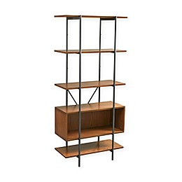 INK+IVY Clark Shelf with Adjustable Box Bookcase in Pecan
