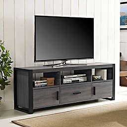 "Forest Gate 60"" Zeke Industrial Modern Wood Metal TV Stand in Charcoal"