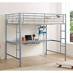 Forest Gate Riley Full Size Metal Loft Bed with Desk in Silver