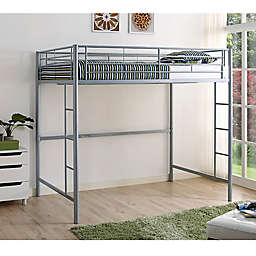 Forest Gate Riley Full Size Metal Loft Bed in Silver