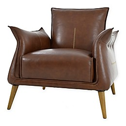 Moe`s Home Collection Leather Upholstered Chair in Light Brown