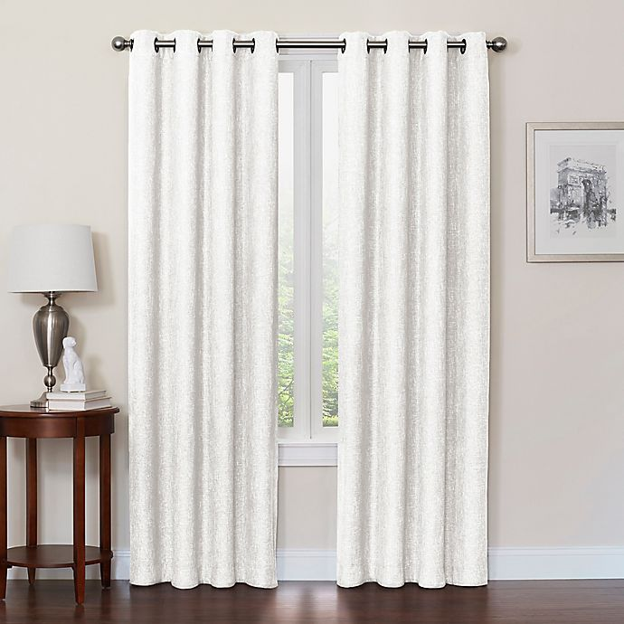 Alternate image 1 for Quinn 84-Inch Grommet Top 100% Blackout Window Curtain Panel in White