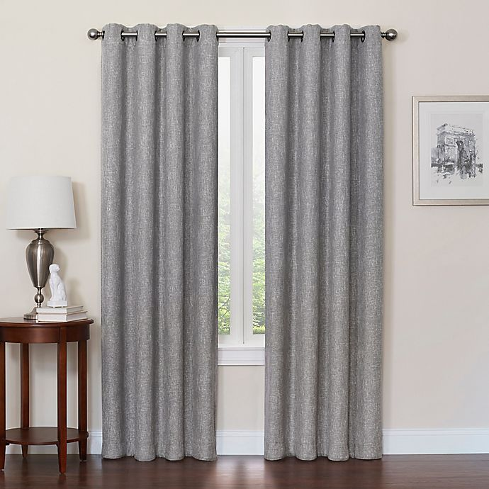 Alternate image 1 for Quinn 84-Inch Grommet Top 100% Blackout Window Curtain Panel in Grey