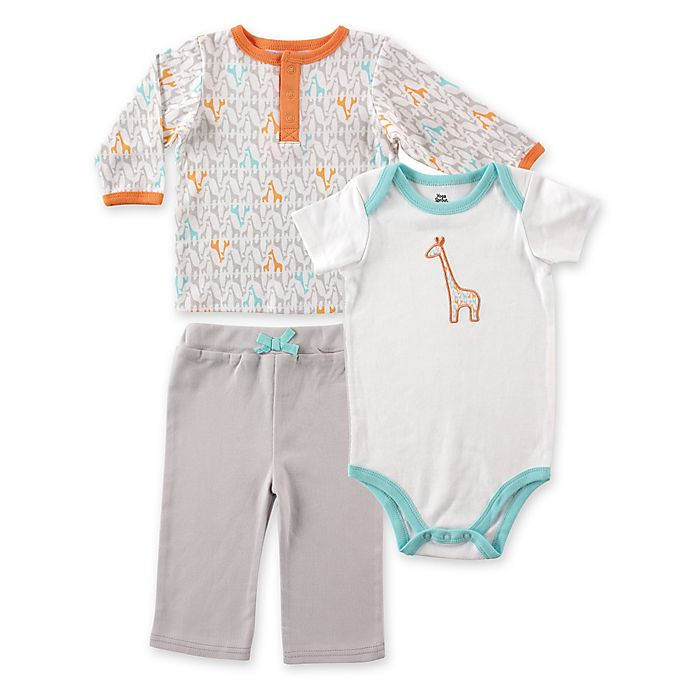 Alternate image 1 for Baby Vision® Yoga Sprout Long Sleeve Giraffe Top, Pant, and Giraffe Bodysuit Sets