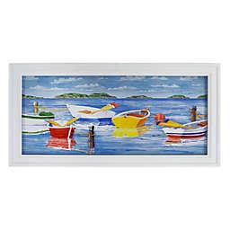 3D Sailboats on a Lake 34-Inch x 17-Inch Glass Shadow Box Framed Wall Art