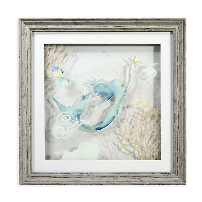 Alternate image 1 for 3D Mermaid Multi-Layered Glass Shadow Box Wall Art