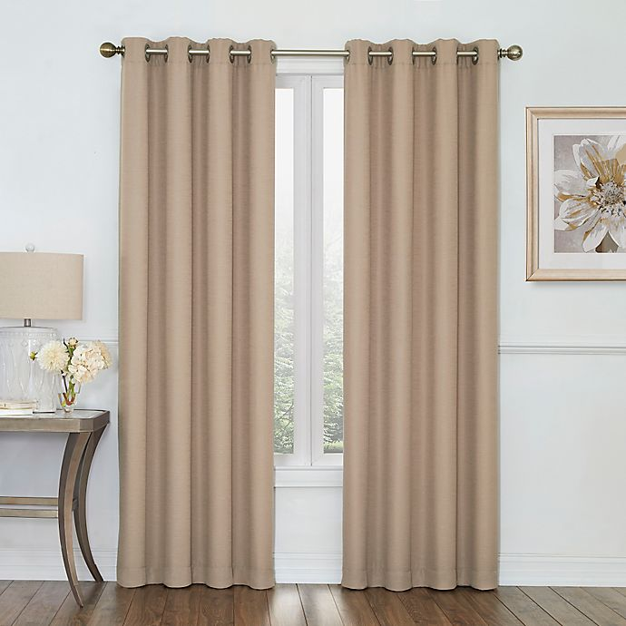 Alternate image 1 for Boucle 63-Inch Grommet Top Room Darkening Window Curtain Panel in Linen