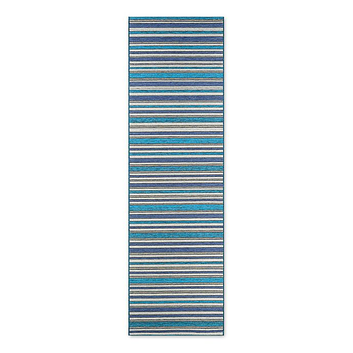 Alternate image 1 for Couristan® Cape Brockton 2-Foot 3-Inch x 8-Foot 10-Inch All-Weather Runner in Cobalt/Teal