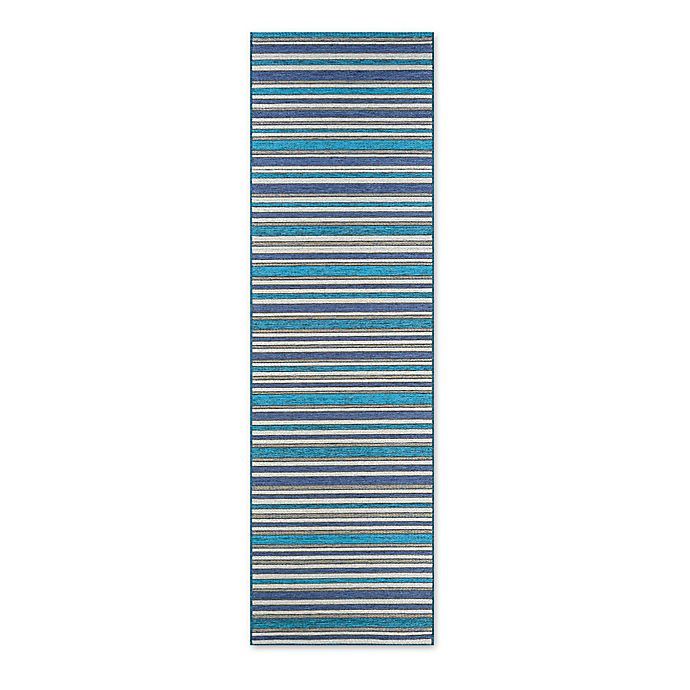Alternate image 1 for Couristan® Cape Brockton  2-Foot 3-Inch x 11-Foot 9-Inch All-Weather Runner in Cobalt/Teal