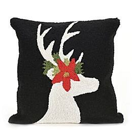 Liora Manne Frontporch Reindeer Square Indoor/Outdoor Throw Pillow in Black