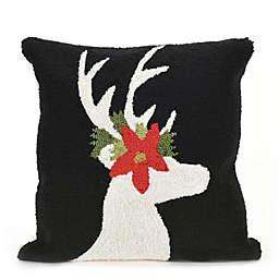 Liora Manne Frontporch Reindeer Square Indoor/Outdoor Throw Pillow in Black