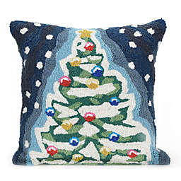 liora manne frontporch christmas tree square indooroutdoor throw pillow in navy - Christmas Outdoor Pillows