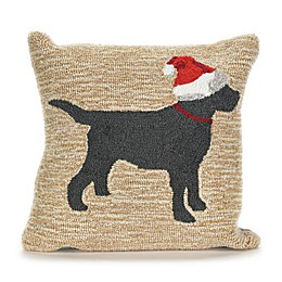 Liora Manne Frontporch Christmas Dog Square Indoor/Outdoor Throw Pillow in Neutral