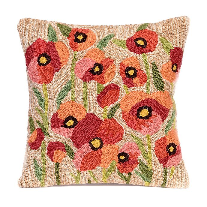 Alternate image 1 for Liora Manne Frontporch Poppies Square Indoor/Outdoor Throw Pillow in Netrual