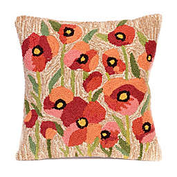 Liora Manne Frontporch Poppies Square Indoor/Outdoor Throw Pillow in Netrual