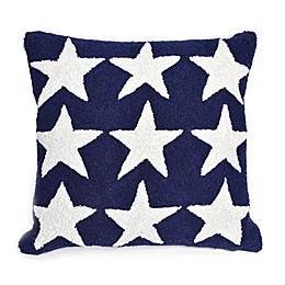Liora Manne Frontporch Stars Square Indoor/Outdoor Throw Pillow in Blue