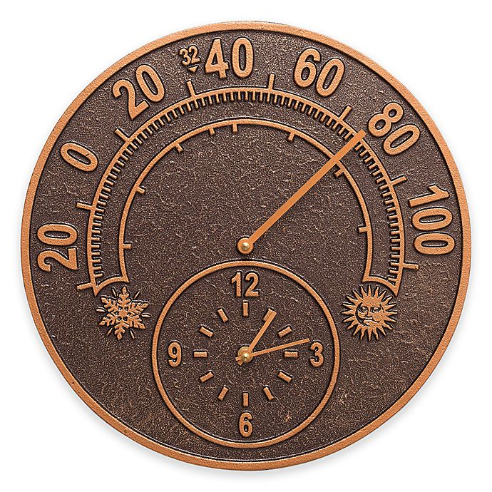 Alternate image 1 for Whitehall Products 14-Inch Solstice Outdoor Clock and Thermometer in Antique Copper