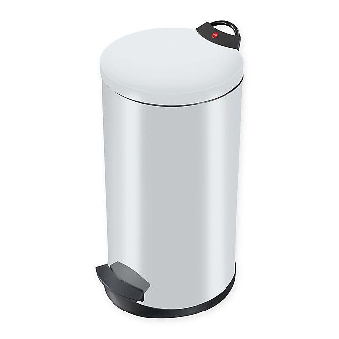 Alternate image 1 for Round Steel 20-Liter Waste Bin in White