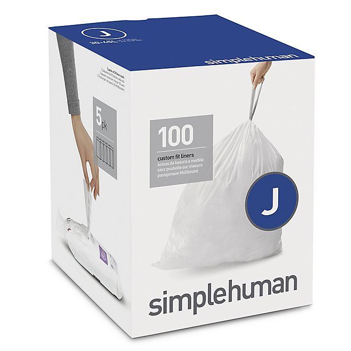 Alternate image 1 for simplehuman® Code J 100-Pack 38-40-Liter Custom Fit Liners in White