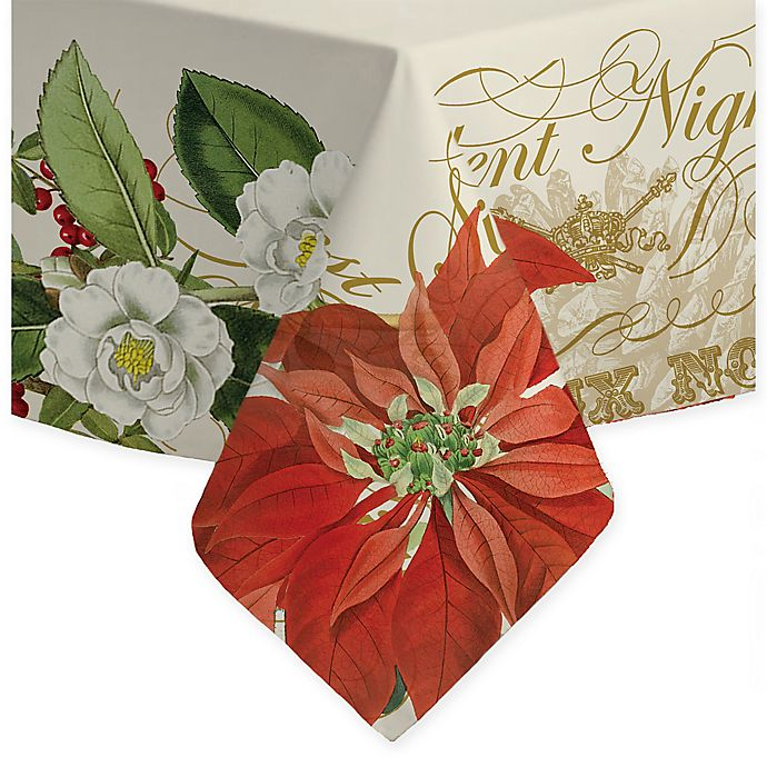 Alternate image 1 for Laural Home Festive Poinsettia Tablecloth