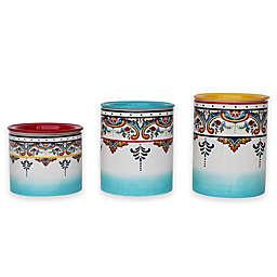 Euro Ceramica Zanzibar Canisters in Blue/White (Set of 3)