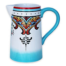 Euro Ceramica Zanzibar Pitcher in Blue/White