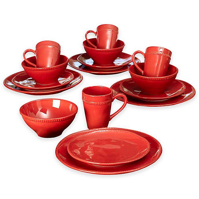 Alternate image 1 for Euro Ceramica Al Garve 16-Piece Dinnerware Set in Red