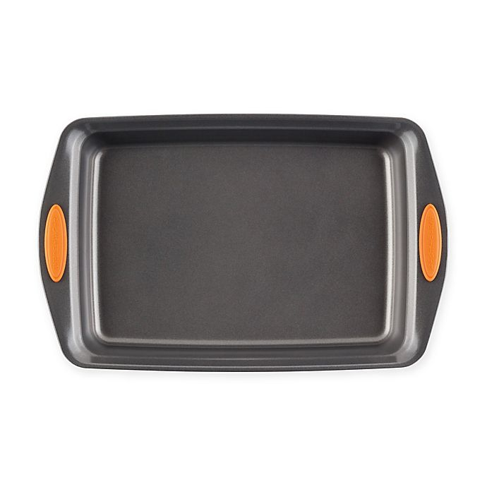 Alternate image 1 for Rachael Ray™ Oven Lovin' Nonstick 9-Inch x 13-Inch Covered Cake Pan in Grey/Orange