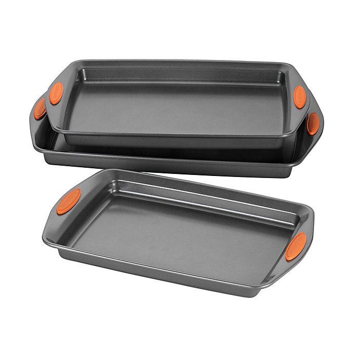 Alternate image 1 for Rachael Ray™ Oven Lovin' Nonstick 3-Piece Cookie Pan Set in Grey/Orange