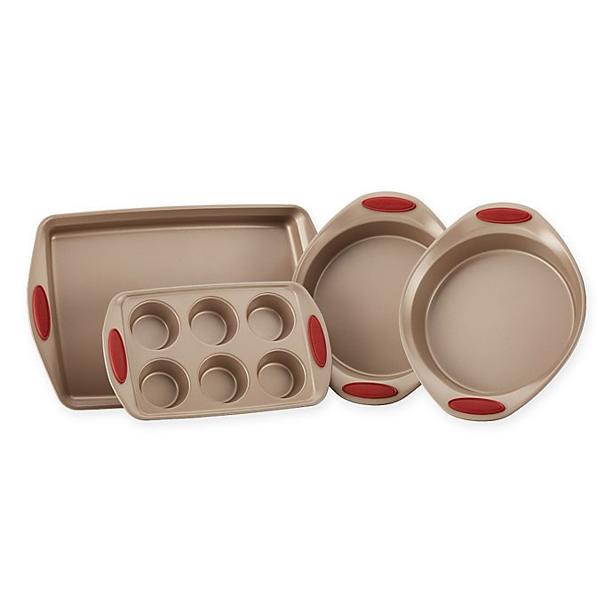 Alternate image 1 for Rachael Ray™ Cucina Non-Stick 4-Piece Bakeware Set in Brown/Red