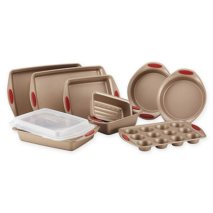Alternate image 1 for Rachael Ray™ Cucina Non-Stick 10-Piece Bakeware Set in Brown/Red