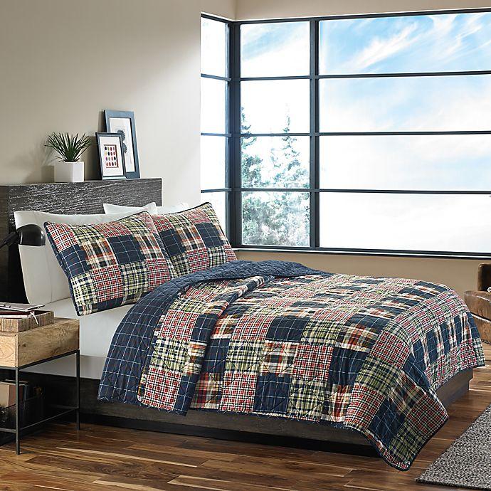 Alternate image 1 for Eddie Bauer® Madrona Plaid Twin Quilt Set in Dark Blue