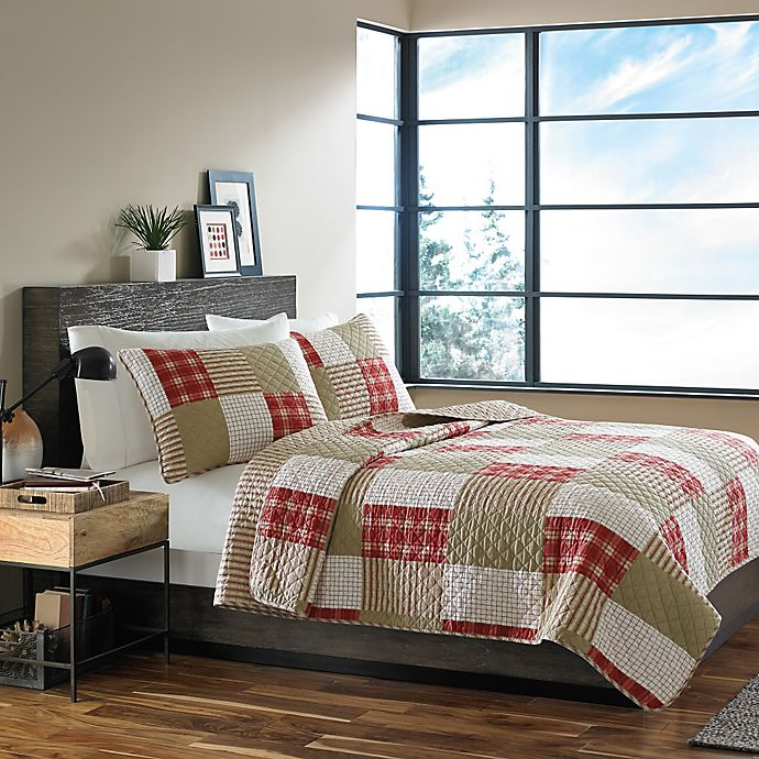 Alternate image 1 for Eddie Bauer® Camano Island Plaid Twin Quilt Set in Red