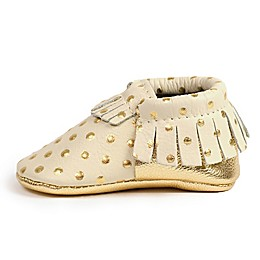 Freshly Picked Moccasins in Cream with Gold Dots