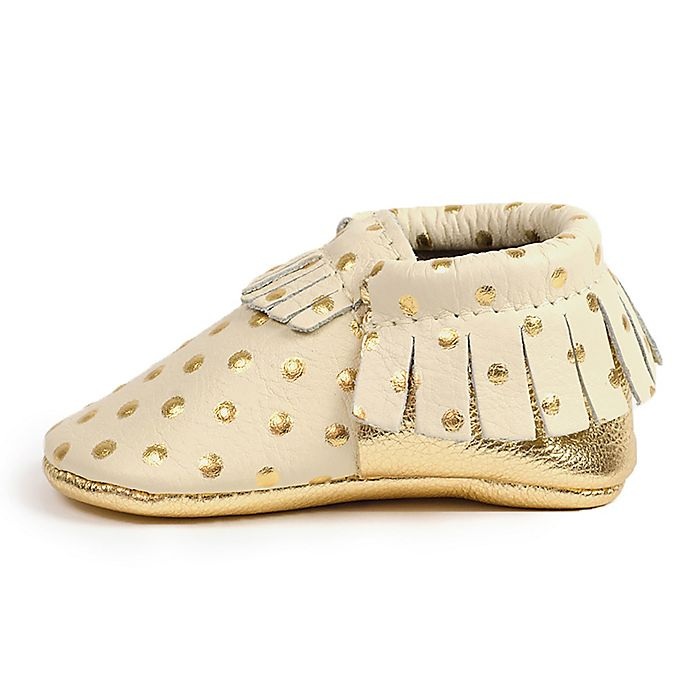 Alternate image 1 for Freshly Picked Size 0-6M Moccasins in Cream with Gold Dots