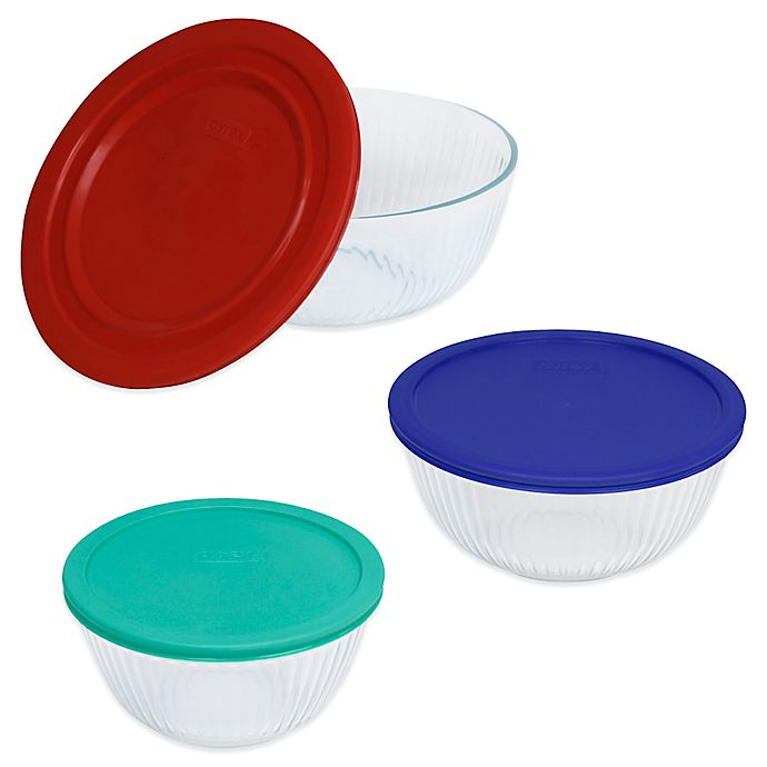 Alternate image 1 for Pyrex® 3-Piece Glass Mixing Bowls with Lids Set