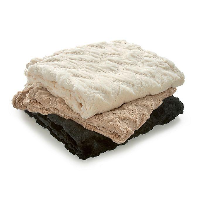 Alternate image 1 for Vellux Chevron Faux Fur Throw Blanket
