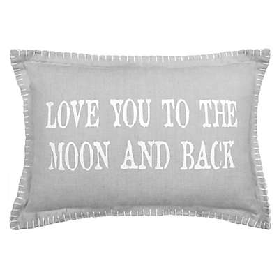 "Park B. Smith ""Love You To The Moon And Back"" Oblong Throw Pillow in Grey/White"