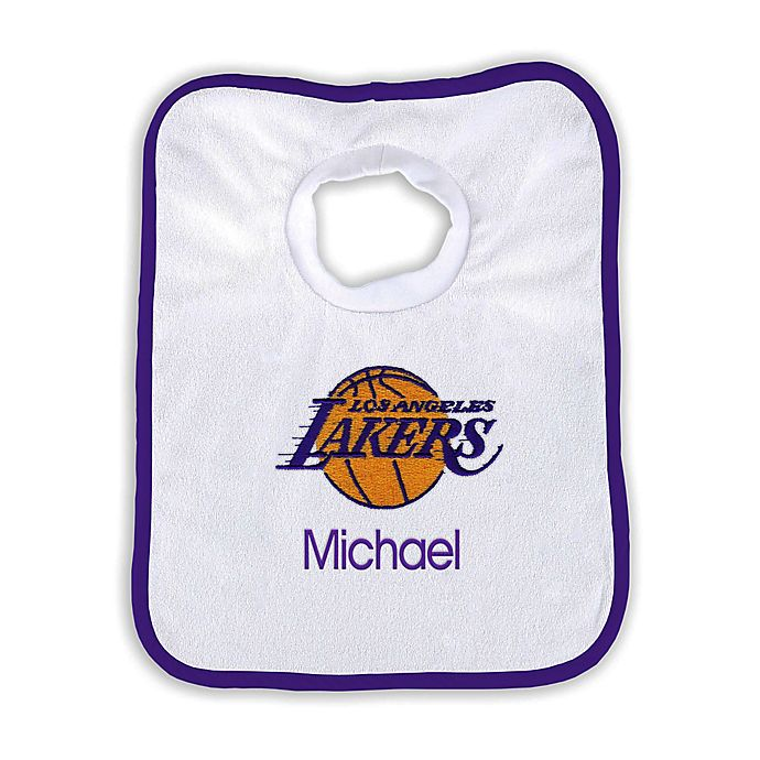 Alternate image 1 for Designs by Chad and Jake Personalized Los Angeles Lakers Bib