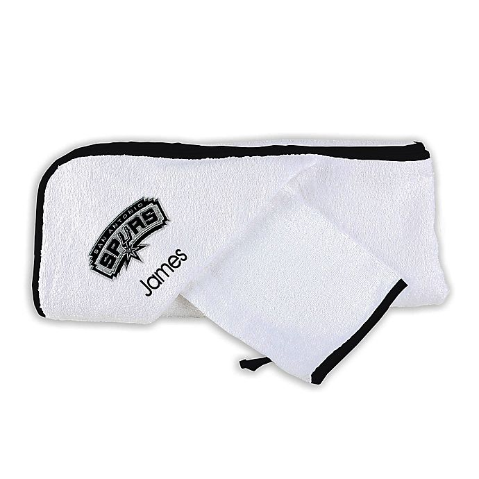 Alternate image 1 for Designs by Chad and Jake NBA San Antonio Spurs Personalized  Hooded Towel Set in White