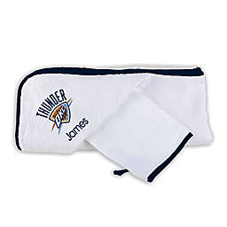 Designs by Chad and Jake NBA Oklahoma Thunder Personalized Hooded Towel Set in White