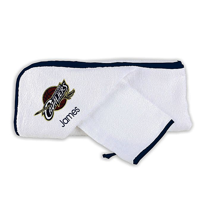 Alternate image 1 for Designs by Chad and Jake NBA Cleveland Cavaliers Personalized Hooded Towel Set in White