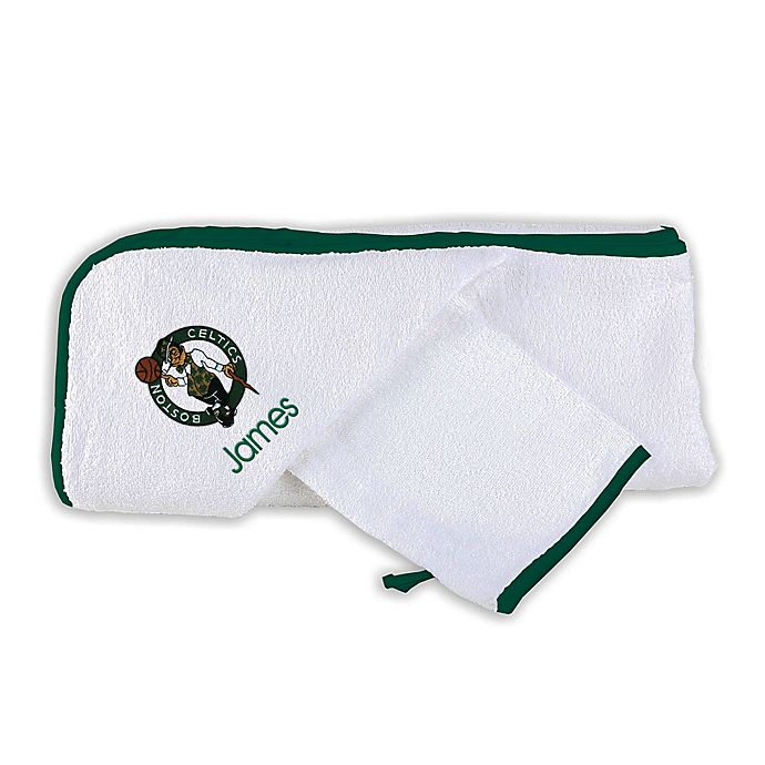 Alternate image 1 for Designs by Chad and Jake NBA Boston Celtics Personalized Hooded Towel Set in White