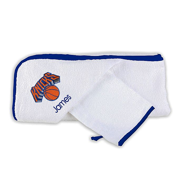 Alternate image 1 for Designs by Chad and Jake NBA New York Knicks Personalized Hooded Towel Set in White