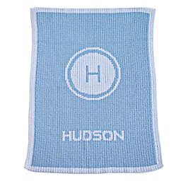 Initials Stamp and Name Stroller Blanket in Blue/White
